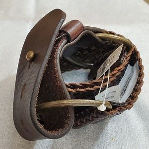 J. Crew Brown Braid Leather Belt (S) #658